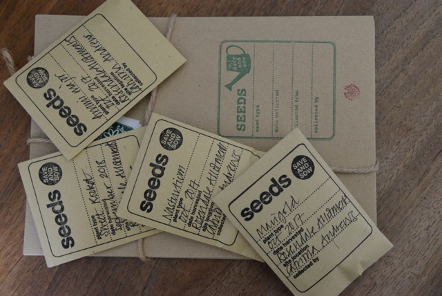 Labelled paper envelopes containing plant seeds